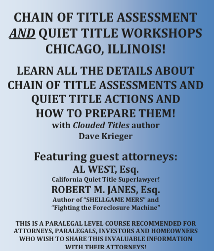 CHAIN OF TITLE ASSESSMENT AND QUIET TITLE WORKSHOPS CHICAGO